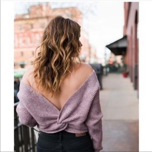 Anthro's Angel of the North Lavender Twist Sweater